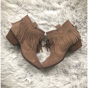 Taupe Fringe Ankle Booties